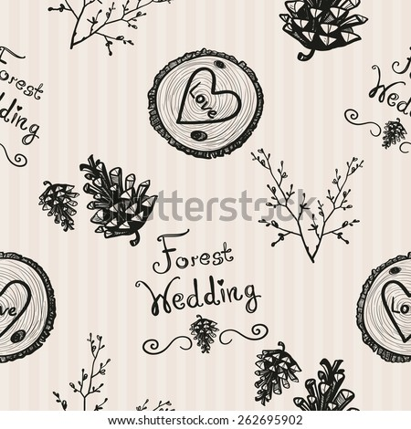 Hand Drawn graphic vintage forest, cone, twig, wood. Set of isolated floral rustic forest wedding decorative symbols and elements. Chess grid order pattern. - stock vector