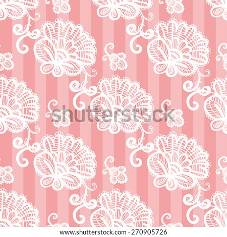 Hand Drawn graphic vintage white line lace peony and bud seamless pattern on soft striped pink background. Set of isolated floral laces wedding invitation decorative elements. Chess grid order - stock vector