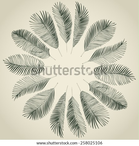 Hand drawn gray background of tropical palm leaves. Vector background. - stock vector
