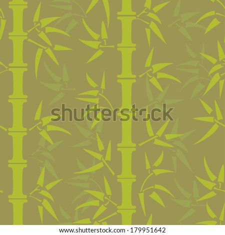 Hand drawn green bamboo seamless pattern. All objects are conveniently grouped on different layers and are easily editable - stock vector