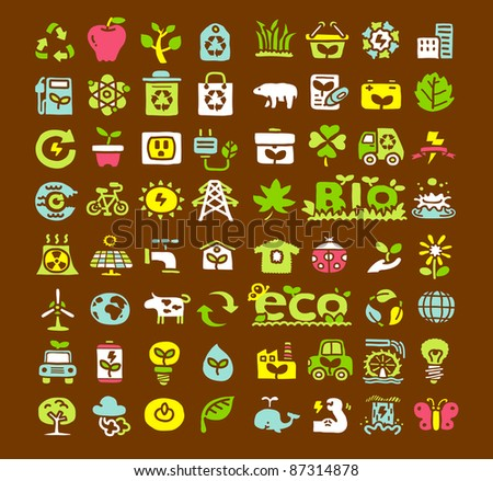 Hand drawn Green Ecology, Bio icon set