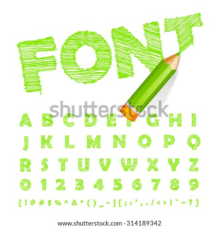 Hand-drawn green font drawn with highly detailed green pencil. The alphabet in style of sketch. Vector sketch letters and figures - stock vector