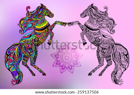 Hand drawn greeting card ornament illustration concept. Lace design. Vector decorative banner of card or invitation design Vintage traditional, horse, animal, arabic, indian, ottoman motifs, elements. - stock vector