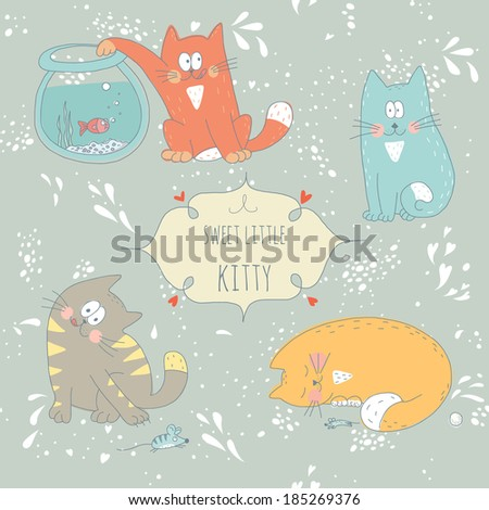 Hand drawn greeting card with little sweet kitties. No transparency. No gradients. - stock vector