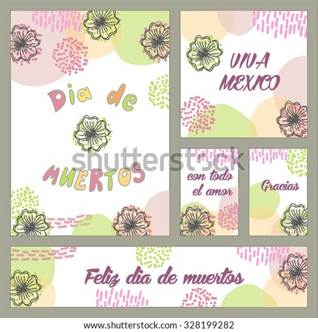 Hand drawn greeting cards mexican holiday stock vector hd royalty hand drawn greeting cards for mexican holiday day of death with sign in spanish dia m4hsunfo Image collections