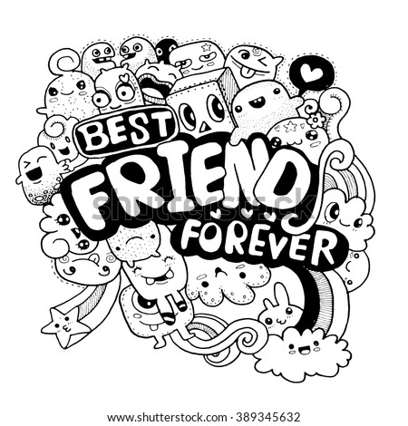 ... monster for you design style quick sketch ,best friend for ever vector Best Friends Holding Hands Girls