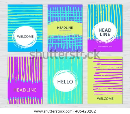 Hand drawn grunge card set. Modern artistic cover templates set. Grunge brush strokes background design. - stock vector