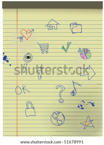 Hand drawn Grunge Kids Icons in blue ink on pad of yellow legal paper. - stock vector