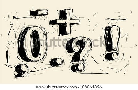 Hand drawn grunge scribble vector typeface - stock vector
