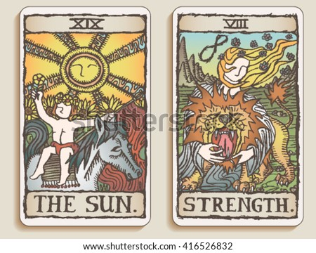 Hand-drawn, grungy, textured Tarot cards depicting the Sun and the concept of Strength. - stock vector