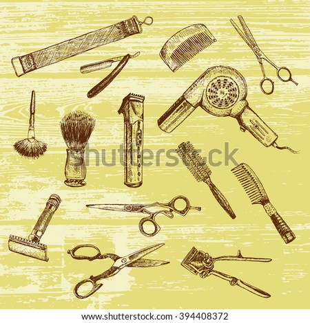 Hand drawn hairdressers professional tools. Barber Stylist Tools set. Vector barber shop vintage collection. Retro Illustration, ancient engraving style - stock vector