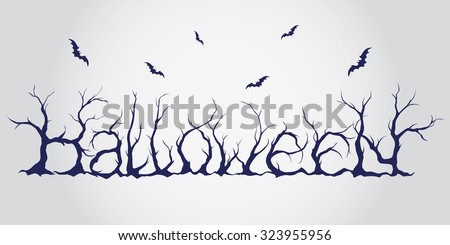 Hand drawn halloween lettering. Trees silhouettes decorated font with bats. Typographical scary vector text. - stock vector