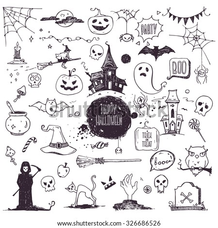 Hand drawn Halloween traditional symbols. Doodle style illustrations: carved pumpkin, spider webs, witch on a broom, bat, zombie hands, skulls, grim reaper, magic potion pot. Isolated vector on white. - stock vector