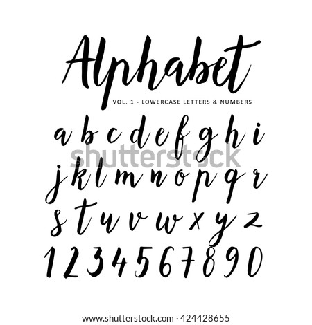 brush lettering alphabet handwritten vector alphabet brush image 20686 | stock vector hand drawn handwritten vector alphabet brush font script isolated letters written with marker 424428655