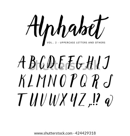 Hand Drawn Handwritten Vector Alphabet Script Brush Font Isolated Letters Written With Marker