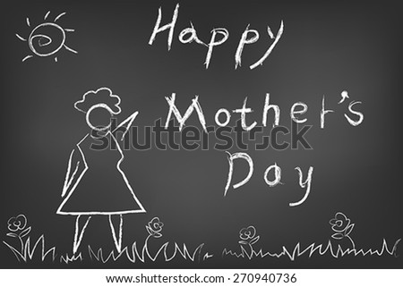 hand drawn happy mothers day card on blackboard - stock vector