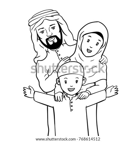 Family caricature black and white dresses