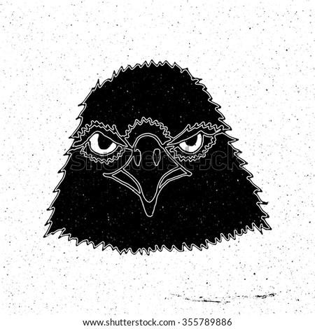 Hand-drawn head of an eagle in grunge style, can be used as a print on a t-shirt, textile, background, sign for the zoo and shop hunting, logo, tattoo, poster - stock vector