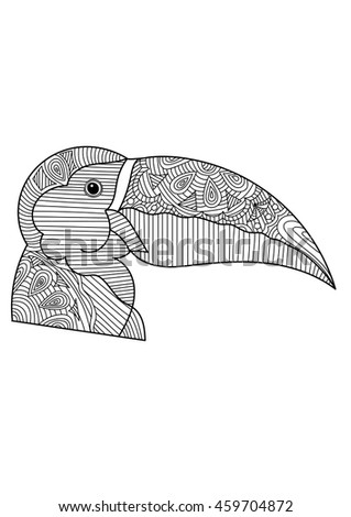 Hand-drawn head of pelican with ethnic floral doodle pattern. Coloring page, design for coloring book for adults, vector illustration, isolated on a white background.  Vector monochrome bird sketch. - stock vector