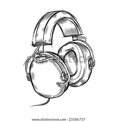 Hand drawn headphones. Vector illustration. - stock vector