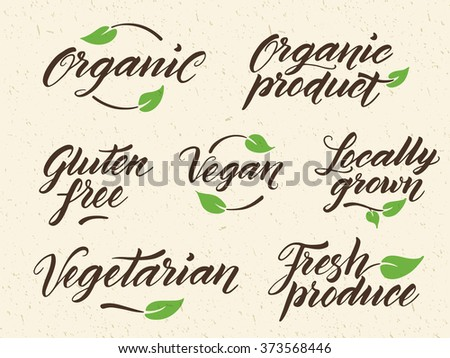 Hand drawn healthy food letterings. Organic, organic product, gluten free, vegan, locally grown, vegetarian, fresh produce. Label, logo template against recycled paper background. Eps 10 vector. - stock vector