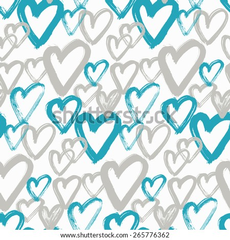 Hand drawn heart seamless pattern. Vector illustration.  - stock vector