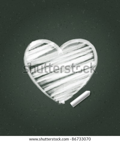 Hand drawn Heart shape on blackboard. Vector background eps 10. - stock vector