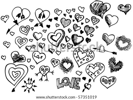 hand drawn heart symbols - stock vector