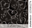 Hand Drawn heart textured card/background in vector format. - stock vector