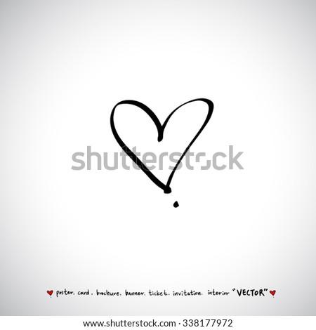 Hand Drawn Heart Vector Calligraphy Stock Vector 338174105