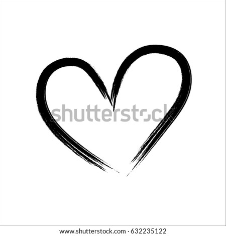 Vector Hand Painted Sign Heart Ink Stock Vector 435366289