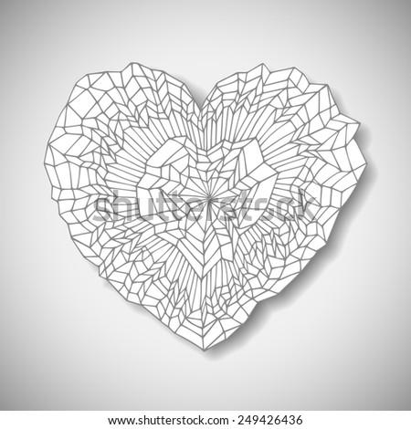 Hand drawn heart, vector eps10 illustration - stock vector