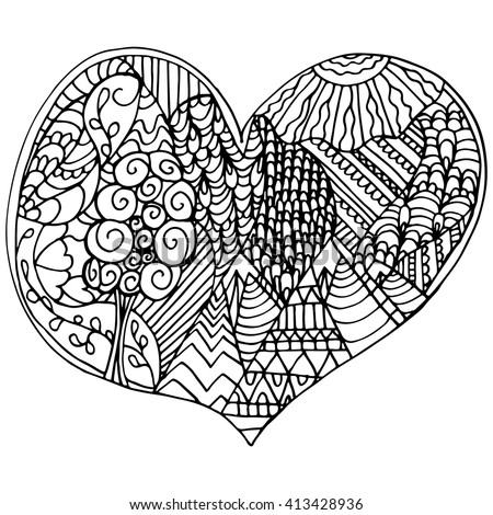 Adult Coloring Pagebook Valentines Heart Relaxing Stock Vector ...