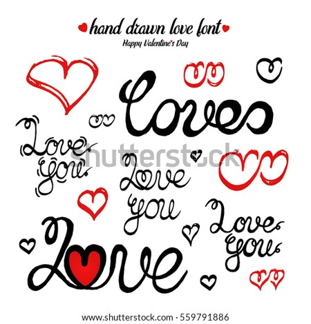Hand Drawn Hearts And Font   Love You. Ink Calligraphy. Valentine Day Card