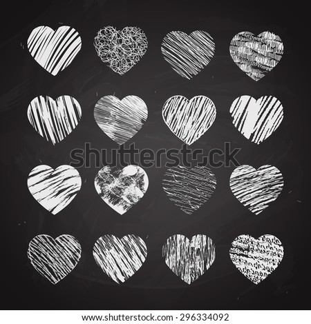 Hand drawn hearts on chalkboard. Valentine and chalk, love and sketch, symbol design, vector illustration - stock vector
