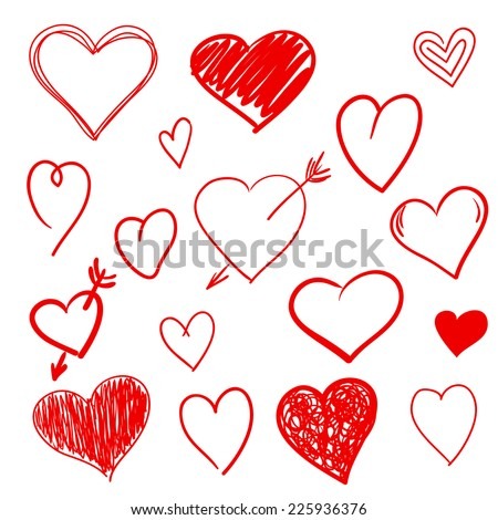 Hand drawn hearts set - stock vector