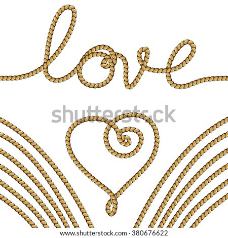 Hand drawn hearts with rope. Greeting Valentines day. Vector Illustration.