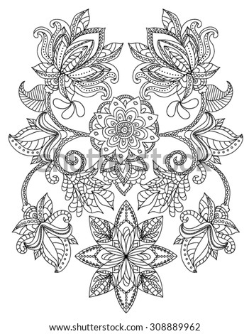 Hand-Drawn Henna  Abstract Mandala Flowers and Paisley Doodle, Coloring Page - stock vector