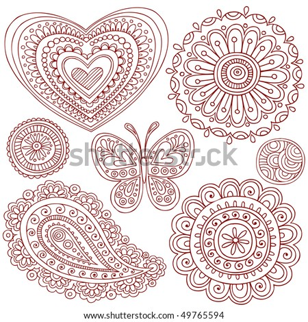 Hand-Drawn Henna (mehndi) Heart, Flower, Butterfly, and Paisley Doodle Vector Illustration Design Elements - stock vector