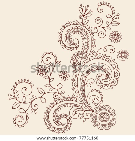 Hand-Drawn Henna Mehndi Paisley Doodle Flowers and Vines- Vector Illustration Design Elements - stock vector