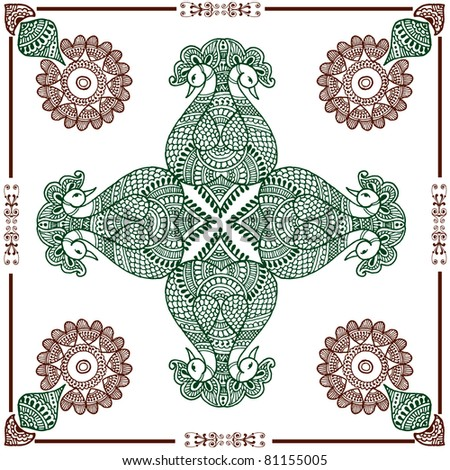 Hand drawn henna rangoli design for invitation layout or can be use as decoration - stock vector