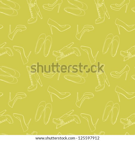 Hand drawn high hill shoes seamless pattern. Vector illustration