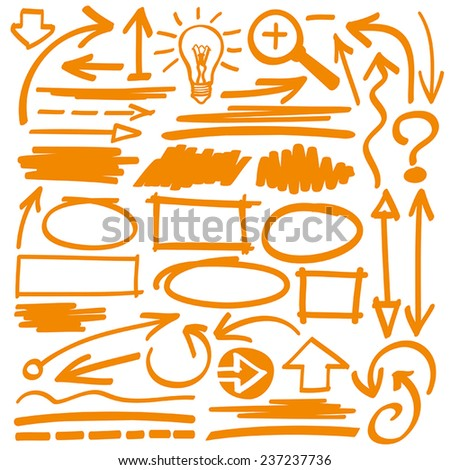 Hand drawn highlighter elements in orange - stock vector