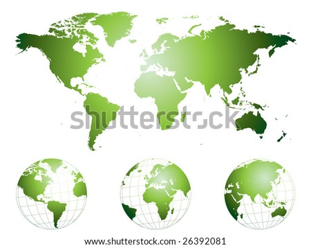 Hand drawn highly detailed world map and globes - stock vector