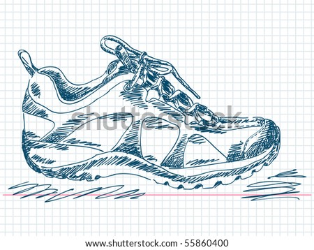 Hand drawn hiking boot Vector. Visit my portfolio for big collection of doodles - stock vector