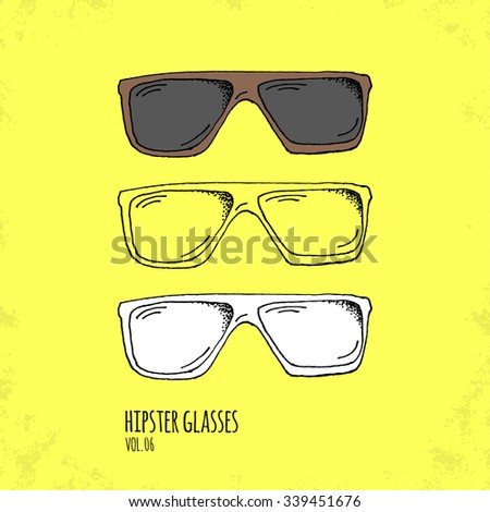 Hand Drawn Hipster Glasses Illustration - Vol. 06. - Hand Drawn Doodle Hipster Fashion Accessory Set - Infographic, Webdesign or Life Style Resource - Vector Illustration