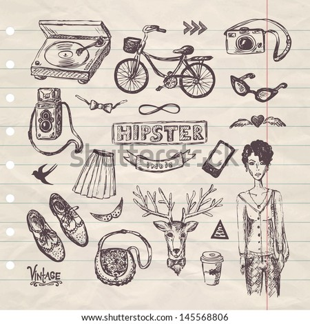 hand drawn hipster set - stock vector