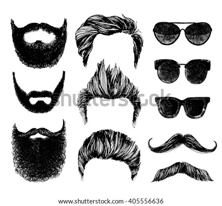 Hand drawn hipster style and fashion vector illustration set.