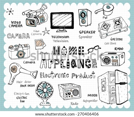 Hand drawn home appliance set -Vintage electronic products illustration with home and kitchen utensils related words in hand drawn style and on the grid background. - stock vector