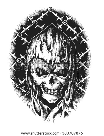Hand drawn hooded sorcerer skull. Vector illustration